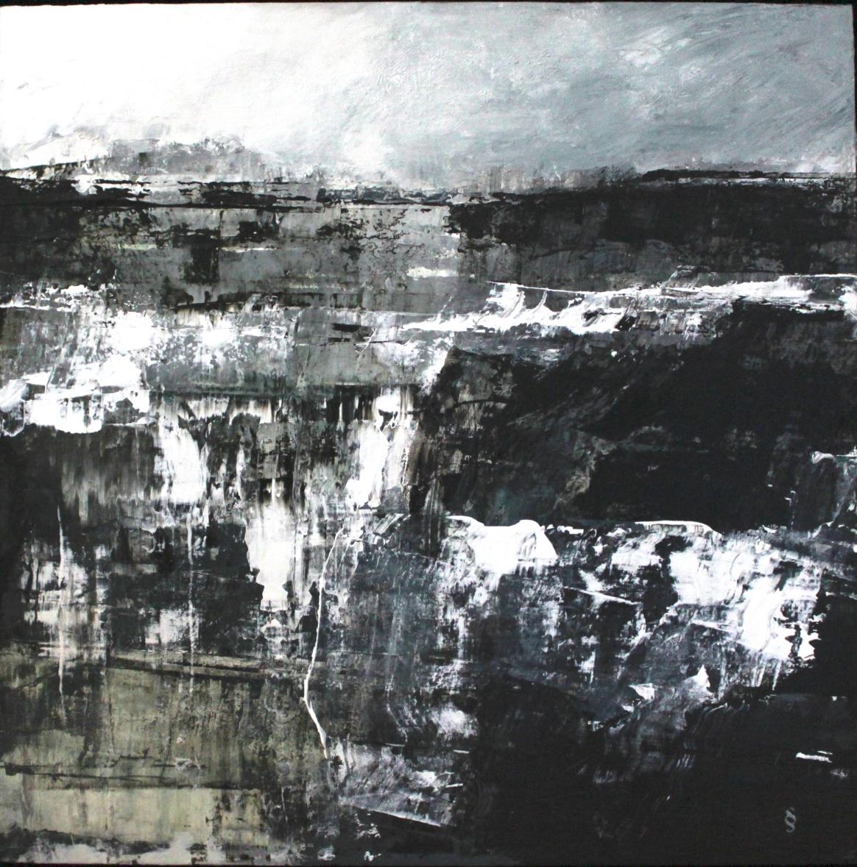 Grisou, Acrylique sur panneau, 24 X 24 po. série: Mine de rien, Sylvie Schueler © 2015