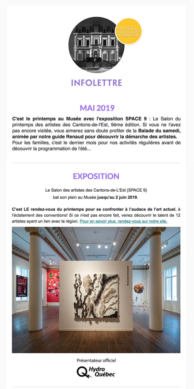 Exposition SPACE9, Musée des beaux arts de Sherbrooke